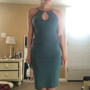 Keyhole Neck Open Back Teal Midi Dress